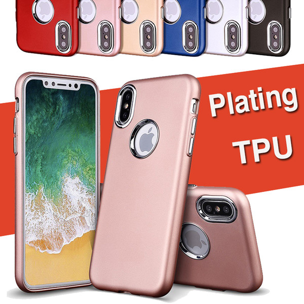 Electroplated Metal Key Hybrid Case Plating Matte Frosted Soft TPU+PC Hard Armor Back Shockproof Cover For iPhone XS Max XR X 8 Plus 7 6 6S