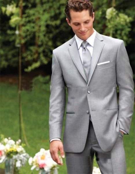 Wholesale-New Style Two Buttons Light Grey Groom Tuxedos Notch Lapel Groomsmen Best Man Mens Wedding Suits(Jacket+Pants+tie)