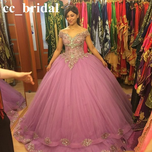 Ball Gown Quinceanera Dresses 2016 Sexy Off the Shoulder Appliqued Tulle Light Purple Princess Sweet 16 Dresses Puffy Masquerade Ball Gowns