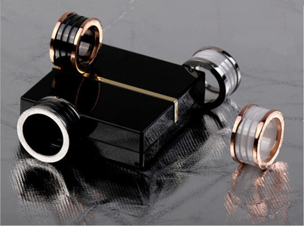 best selling Black White Ceramic Whorl Rings, Yellow Gold  Rose Gold  Silver Metal colors Titanium Stainless steel Women Men Jewelry---Size 5 to 13