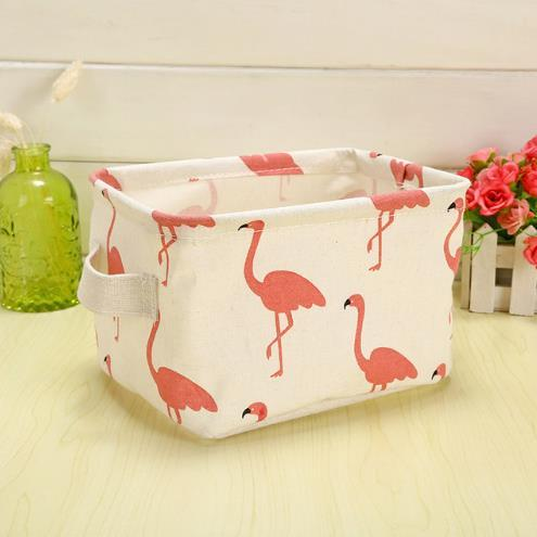 Cute Printing Cotton Linen Desktop Storage Organizer Sundries Storage Box Cabinet Underwear Storage Basket Fast Shipping
