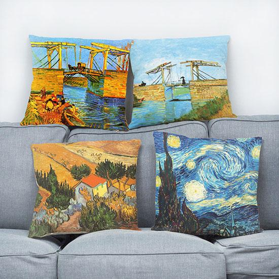 Artistic linen cushion cover Van Gogh oil painting famous starry night wheatfield with crows 11 types decorative throw pillowcase