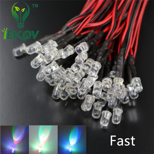 100pcs 5MM 12V DC 20cm Pre-Wired Resistor Fast change RGB Flash Red Green Blue Rainbow MultiColor Round Strobe Emitting Diode DIY
