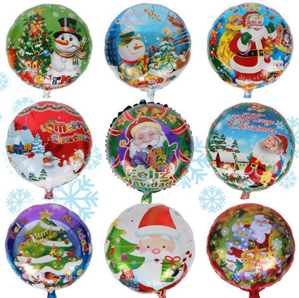 Christmas Aluminum Balloons 18'' Xmas Home Decoration Santa Claus Snowman Balloons Festive Party Supplies Kids Christmas Gift DHT137