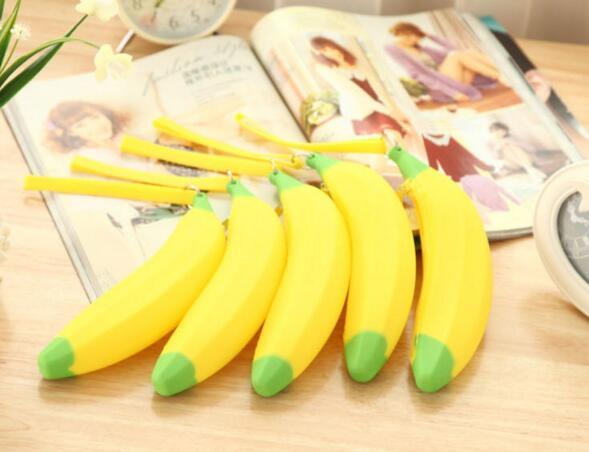 50 pcs nouveauté étui à crayons banane sac kawaii crayon porte-monnaie en caoutchouc estuches fournitures scolaires papeterie