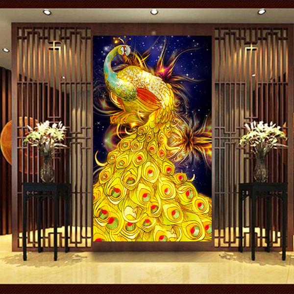 2020 30 45cm 5d Diamond Embroidery Gold Peacock Diamond Painting