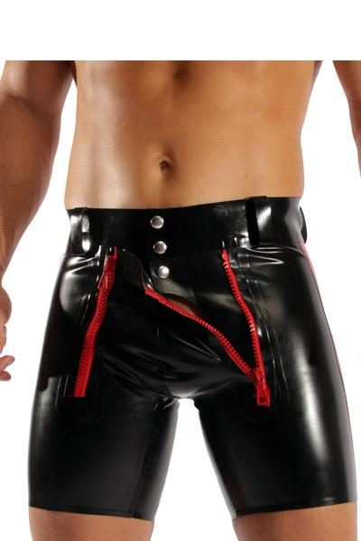 Wholesale-Black sexy tight skinny men's PVC shorts buttons and zippers details front faux leather short pants latex rubber men's