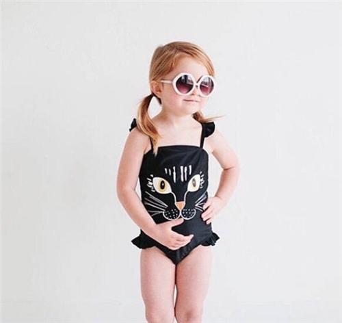 Meninas swimwear Swimwear Venda Quente Do Bebê Meninas Crianças Adorável Gato Um Pedaço Swimsuit Swimwear Maiô Gato Preto Swimsuit Privado Natação Troncos