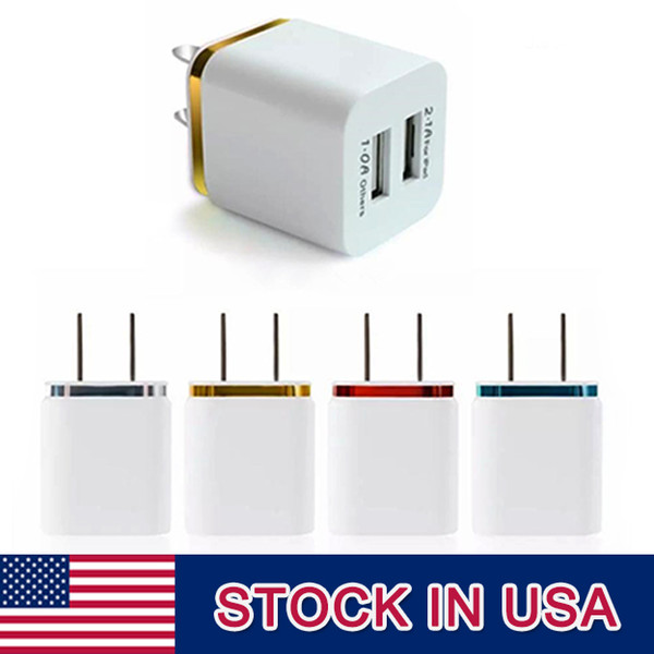 High Quality 5V 2.1 1A Double US AC Travel USB Wall Charger for Samsung Galaxy HTC Cell Phones Adapter