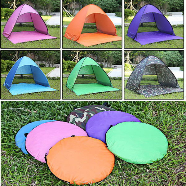 top popular Summer Tents Outdoor Camping Shelters for 2-3 People UV Protection Tent for Beach Travel Lawn 10 PCS   Lot Fast Shipping 2021