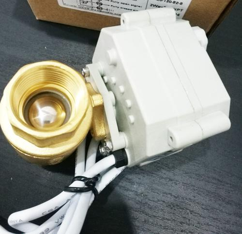"""Chinese 2 way brass ball valve, 3/4"""" BSP or NPT thread, DC12V, CR502 wire control , A20 series grey actuator, with open/close indicator"""