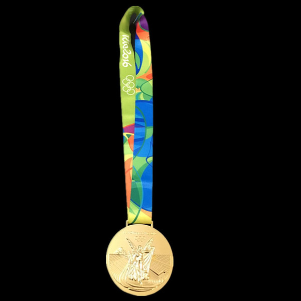 top popular 1 pcs lot The 2016 Rio Olympic games Championship replica gold silver bronze medal badge collectible art coin badge with Ribbon 2019