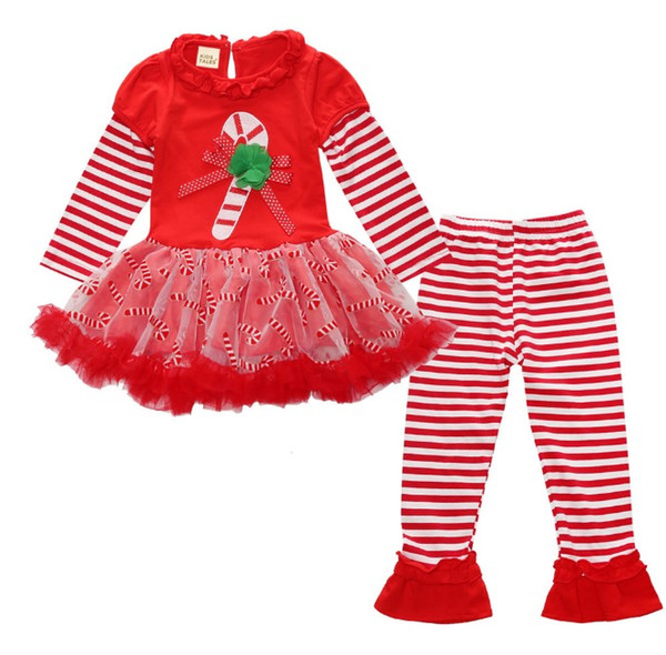 spring autumn girls Christmas tutu dress+pants kids sets children cotton suits baby sets skirts+leggings 1set pack SDF006