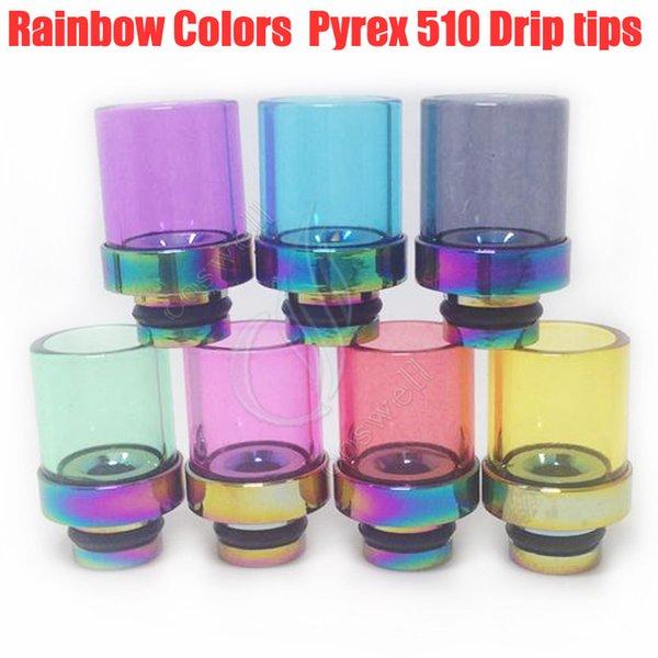 New Rainbow Glass Drip Tips a foro largo 510 Colorato Pyrex Bocchino in acciaio inossidabile Punta gocciolante RBA RDA Mod Vaporizzatore Atomizzatore Gocciolamento