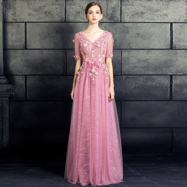 Elegant Evening Dresses Pink Lace and Tulle Flower Half long Sleeves Floor-length V-neck Empire Style Beads Party Sexy Backless Gown Bride