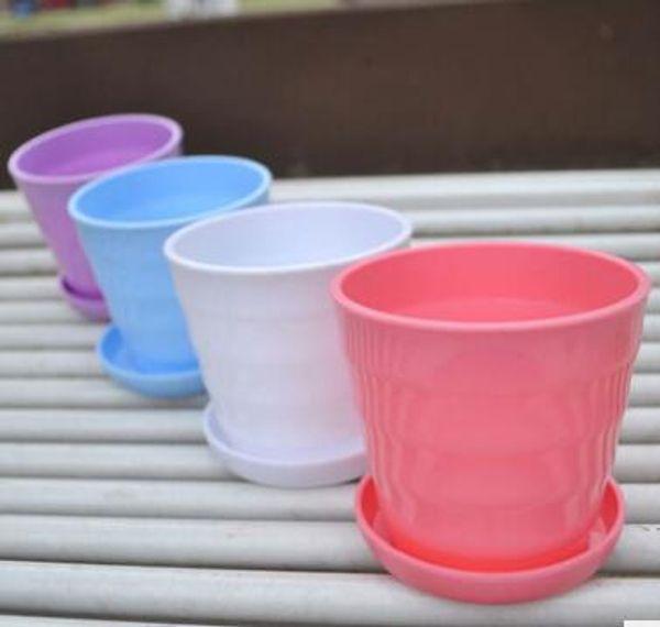 Bonsai Planters Latest Breathable Plastic Table Mini Succulents Plant Pots with Plate Gardening Vase Round Flower Pot Colorful