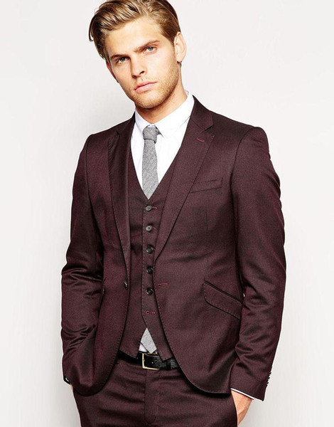 New Arrivals One Button Dark Red Groom Tuxedos Notch Lapel Groomsmen Best Man Wedding Prom Suits (Jacket+Pants+Vest) For Wedding