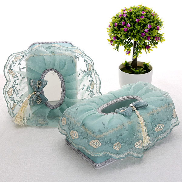 Wholesale- Cloth Napkin Box Pastoral Lace Home Furnishing Creative Desktop Storage Paper Boxes with High-grade Car Tissue Boxes