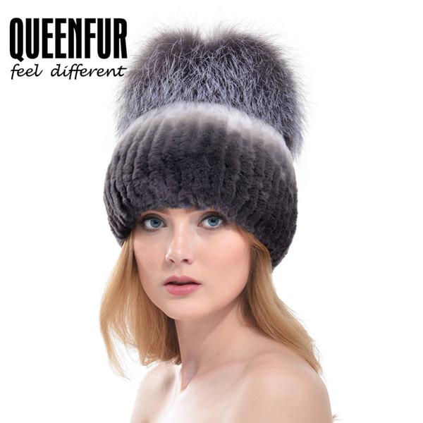 All'ingrosso-QUEENFUR donne moda reale rex cappello di pelliccia di coniglio con pelliccia di volpe d'argento big pom pon berretti 2016 inverno caldo di spessore coniglio di pelliccia