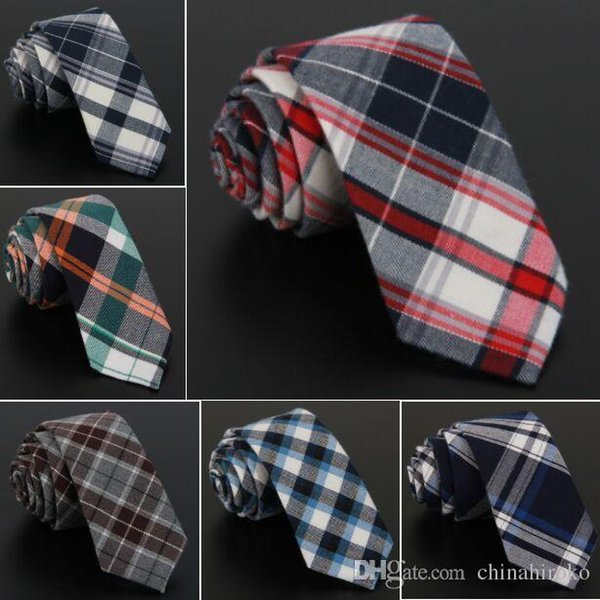 Cotton necktie 145*6cm Stripe Neck Tie 12 colors Grid neckties for Men's Wedding Party Father's Day Christmas gift