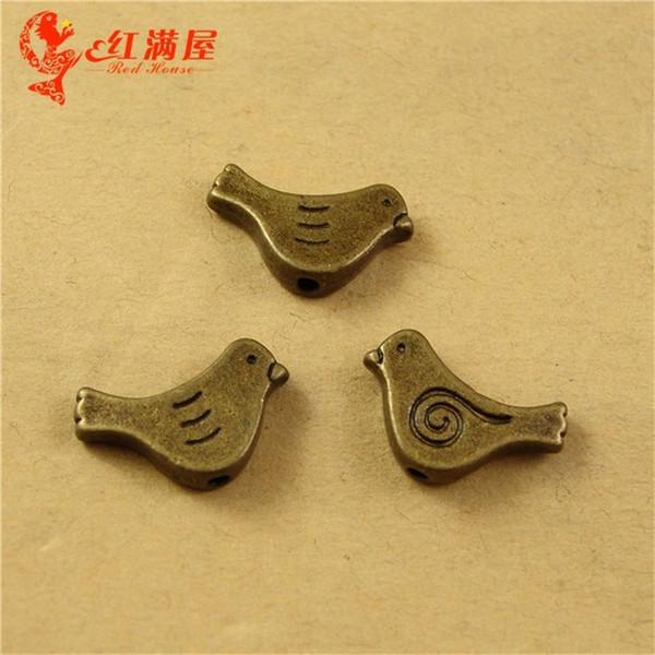 A2305 15*14MM Antique Bronze Retro perforation bird charm bead manual DIY accessories wholesale, animal shaped jewelry, animal pendant