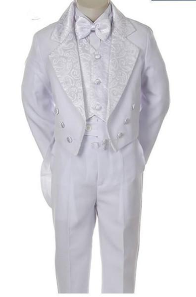 Smoking smoking branco para meninos Double Breasted entalhado lapela pouco Mens ternos Ocasião Especial Crianças Roupas (Jacket + Pants + Vest + arco)