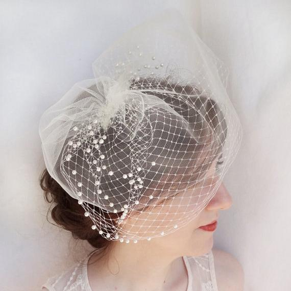 Ivory Birdcage Veil Beaded Face Covers Wedding Veils Fascination Hat With Metal Comb Soft Illusion Tulle Birdcage Veil 2017 New