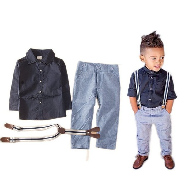 Latest design summer baby boys outfits long sleeve shirt+suspender jeans 2pcs boy's suit kids formal gentle suit boy denim clothing set