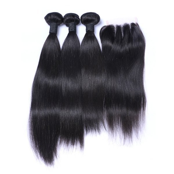 8A Brazilian Straight Hair 3 Bundles With 3 Part Lace Closure 4Pcs Lot Straight Human Hair Weaves With Top Closure
