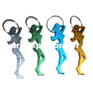 1600Pcs Aluminum Alloy Bar Beer Bottle Opener Sexy Lady Key Chains Metal Novelty Promotion Keyring Gift-Free Shipping