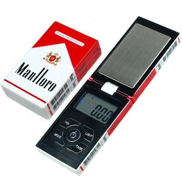 1 unids / lote 200 g x 0.1 g Balanza de bolsillo digital Peso de la balanza Escalas de joyería 0.01 gramos Caja de cigarrillo escalas Envío gratis DHL