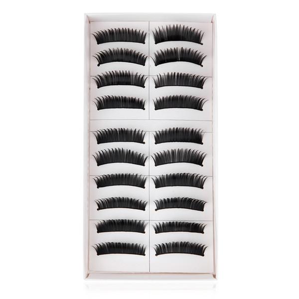 Wholesale-10 Pairs of Natural Long Black Stems Thick False Eyelashes Individual Lashe Black False Eyelash Cluster Extension Makeup 1464822