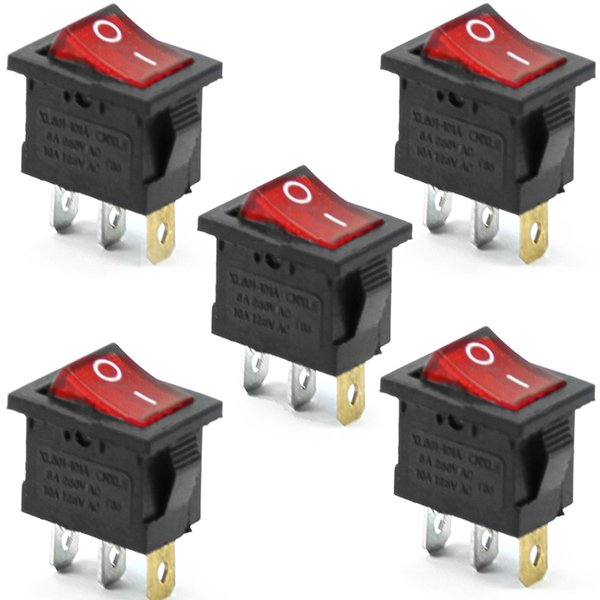 best selling 5Pcs 3 Pin Red ON-OFF SPST Snap in Boat Rocker Switch AC 6A 250V 10A 125V B00273