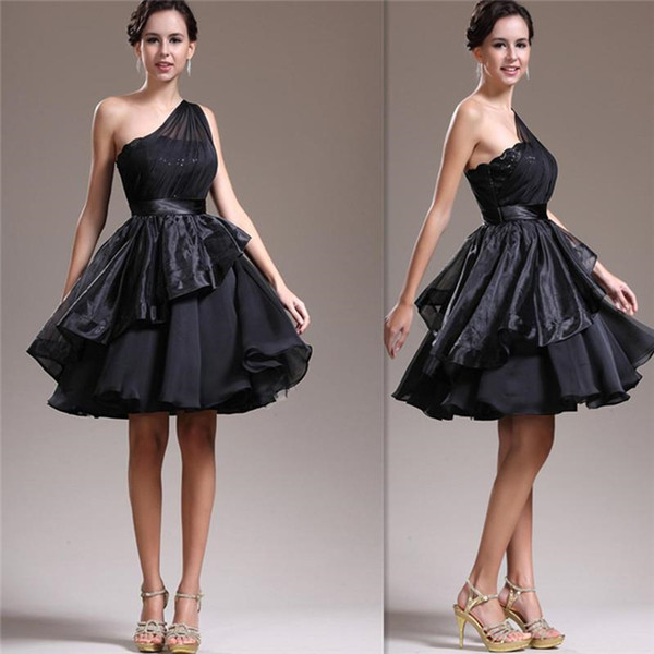 2016 Cheap One Shoulder Little Black Short Prom Dresses Under 100