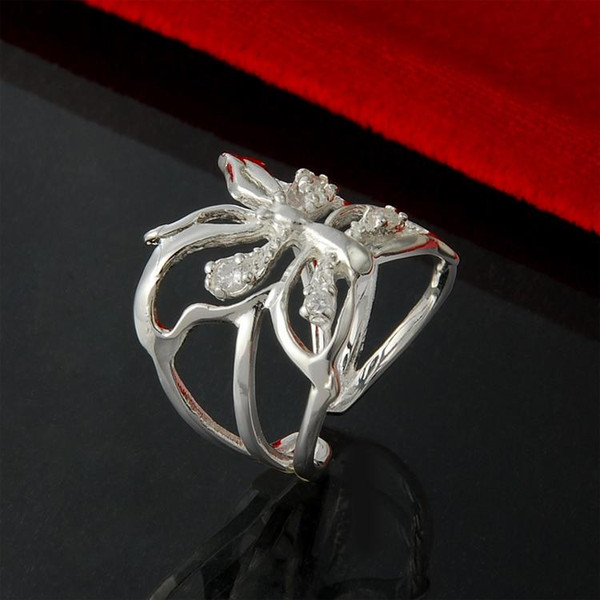 2016 new arrival wholesale China 925 sterling Silver rings Butterfly Hollowed crystal Ring Opening fashion Ring