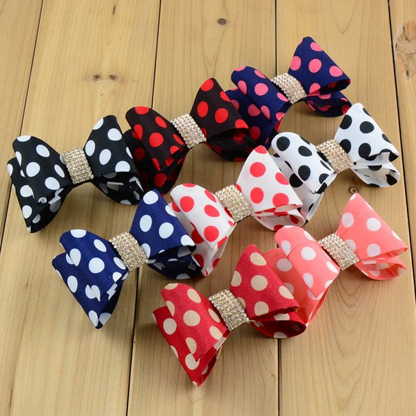 "Wholesale-Express free 3.2"" Newborn Luxe Dot Hair Bows Handmade Hard Satin Bowknot with rhinestone button Baby Girls Hair Accessories"