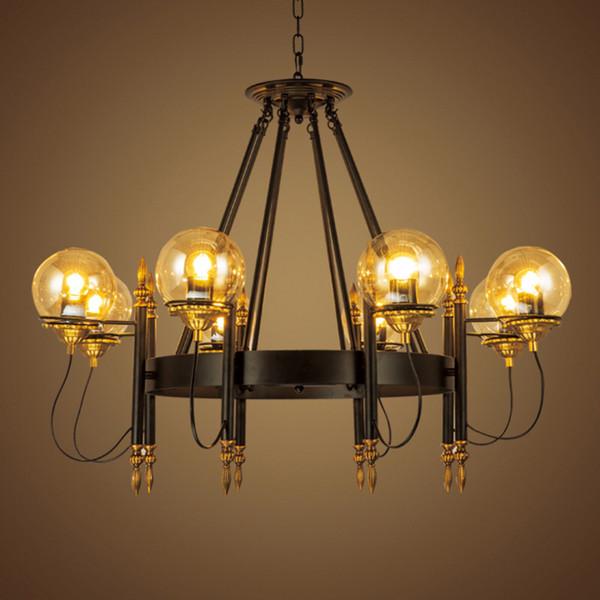 Foyer Dinning Restaurant Classic aircraft light Industry LOFT pendant lamp round ball ring pendant light vintage hanging lamp