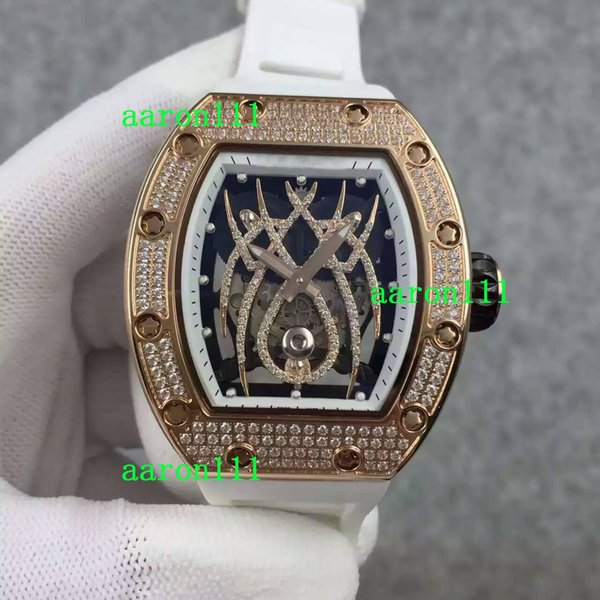 Luxury Rose Gold Stainless Diamonds RM19-01 Spider Dial Big Mens Mechanical Watches Rubber Strap Fashion Business Men Automatic Wristwatches