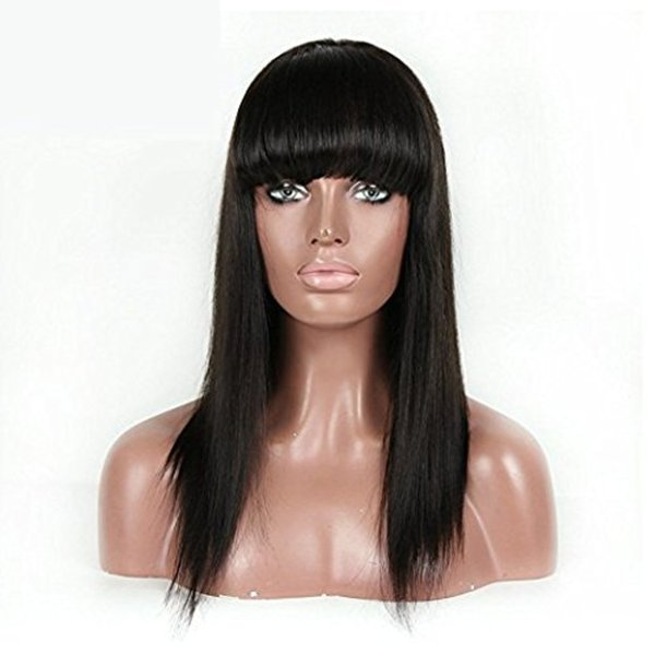Chinese Bang Wigs Virgin Human Hair Glueless Full Lace Wig With Bang Straight Hair Blenched Knots Human Hair Wig Full Bangs