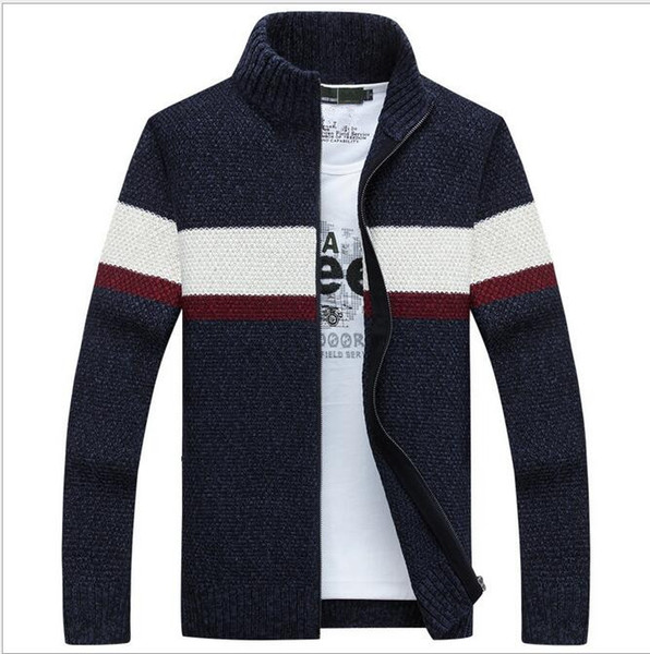 autumn and winter new wool coat Men 's casual cashmere cardigan jacket Fashion collar collar men thick sweater men/women polo jacket