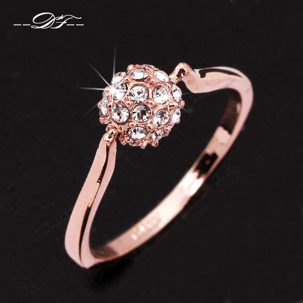 Engagement Ring Imitation Gemstone Ball Design 18K Gold Plated Austrian Crystal Brand Jewelry For Women Gift anel aneis DFR004