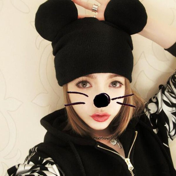 Knitting Skull Caps Cute Mickey Ear Hats Autumn Winter Warm Caps Fashion Hip-Hop Beanie Free Shipping