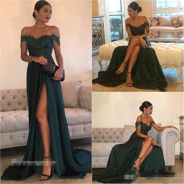 Elegant 2019 A-Line Hunter Green Evening Dress Vintage Cheap Off Shoulder Long Backless Formal Prom Party Gown Custom Made Plus Size