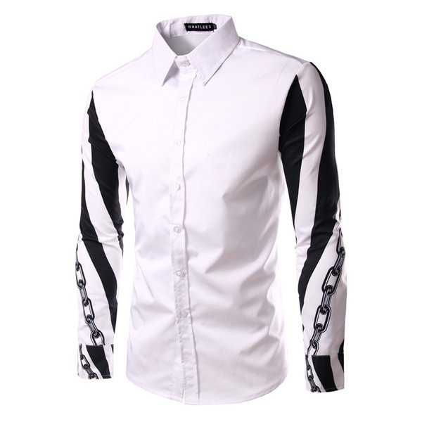 2019 Stylish New Arm Link Chain Pattern Print Casual Shirt Patchwork Long  Sleeves Men'S Slim Fit Business Shirt A14 From Tesco Best, $24 2 |