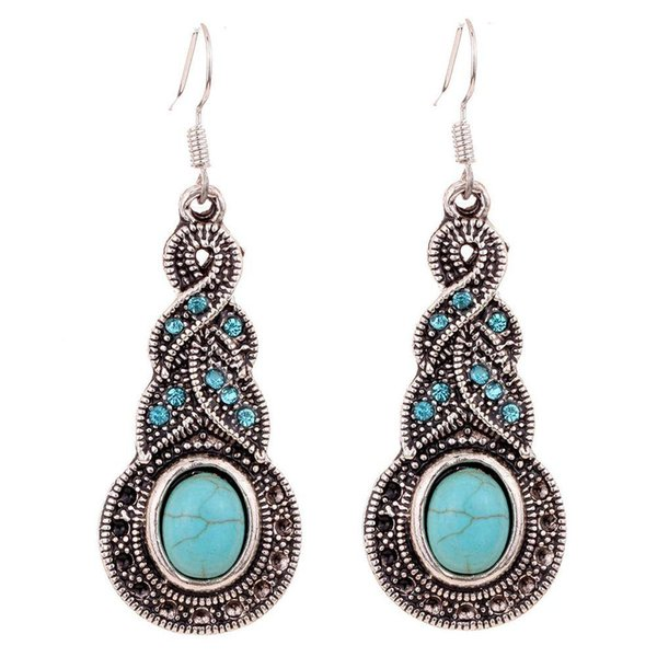 Summer Fine and Fashion Jewelry Charming Ethnic Tibetan Silver Oval Turquoise Style Drop Dangle brincos Earrings for Women