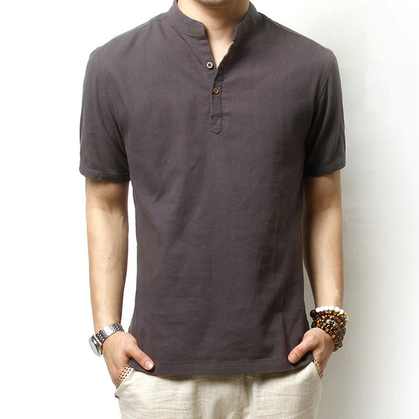 Wholesale-Summer Men`s Linen Cotton Blended Short Sleeve Shirt Mandarin Collar Breathable Comfy Traditional Chinese Style Shirts For Men