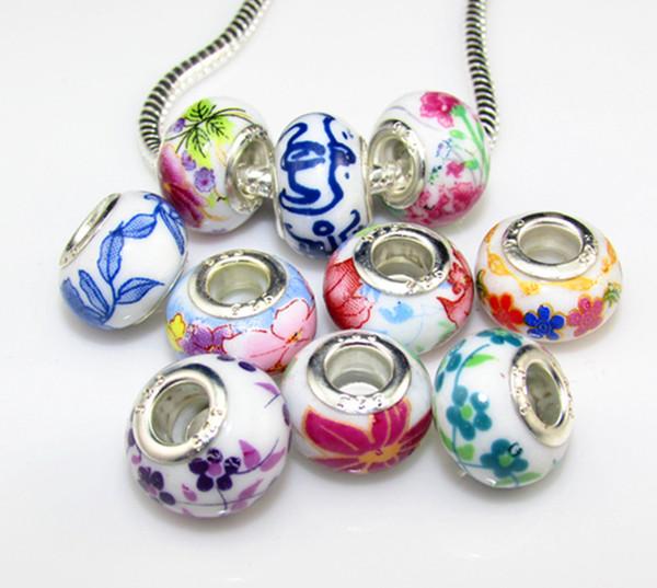100pcs Ceramic Handmake Porcelain Chinese Style Print Flower Symbol Charm Big Hole Bead Silde Spacer Charm Fit European Charms Braclet