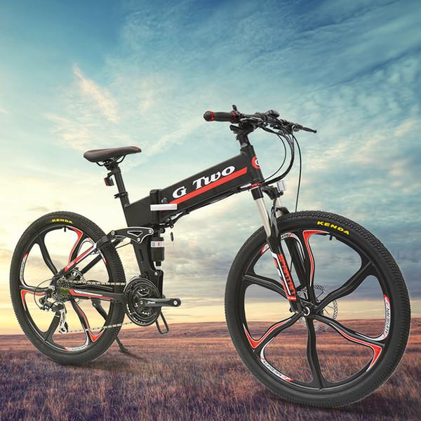 21 Speed, 26 inches, 48V/7.8AH, Hidden Lithium Battery Electric Folding Bike, Suspension, Aluminum Alloy, Mountain Bike.