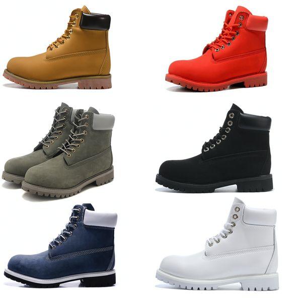 Bota de cuello de contraste básico de tobillo de los hombres bota impermeable Botas de cuero de los hombres al aire libre 6 color 36-46