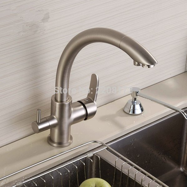 2019 Wholesale Wholesale Solid Brass Brushed Nickel Kitchen Faucet Osmosis  Reverse Tri Flow Filtered Sink Mixer 3 Way Kitchen Tap From Shuishu, ...
